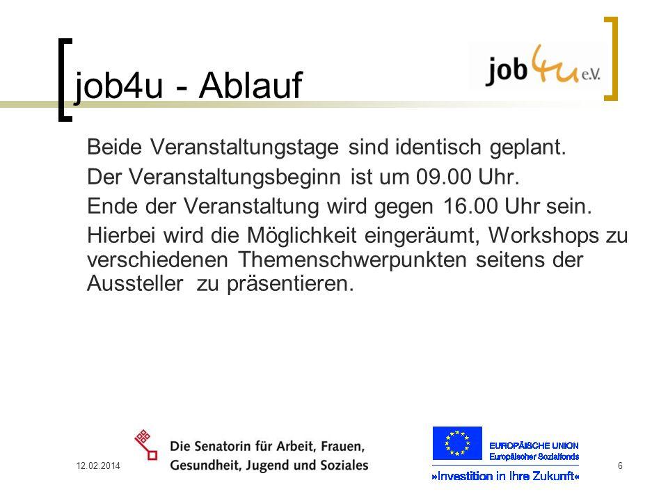 job4u - Ablauf Der Veranstaltungsbeginn ist um 09.00 Uhr.