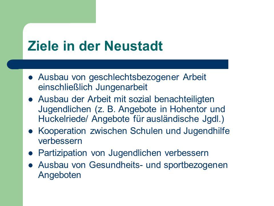 Ziele in der Neustadt Ausbau von geschlechtsbezogener Arbeit einschließlich Jungenarbeit.
