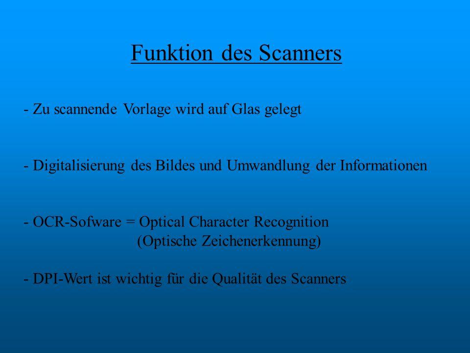 Funktion des Scanners Zu scannende Vorlage wird auf Glas gelegt