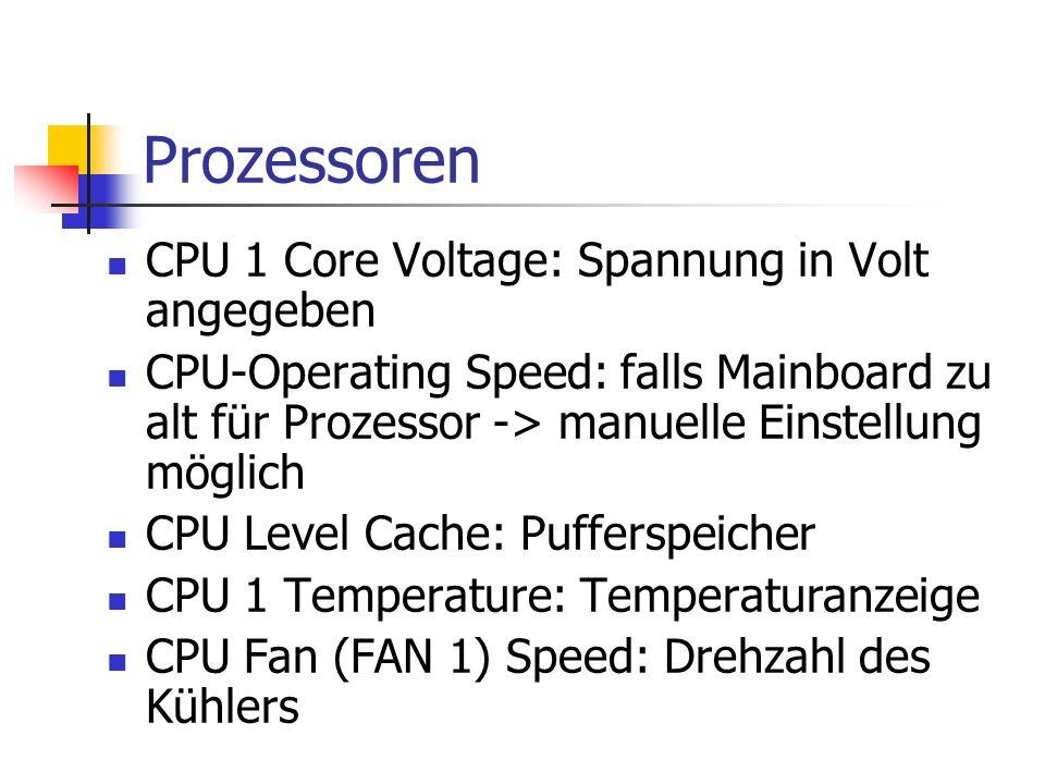 Prozessoren CPU 1 Core Voltage: Spannung in Volt angegeben
