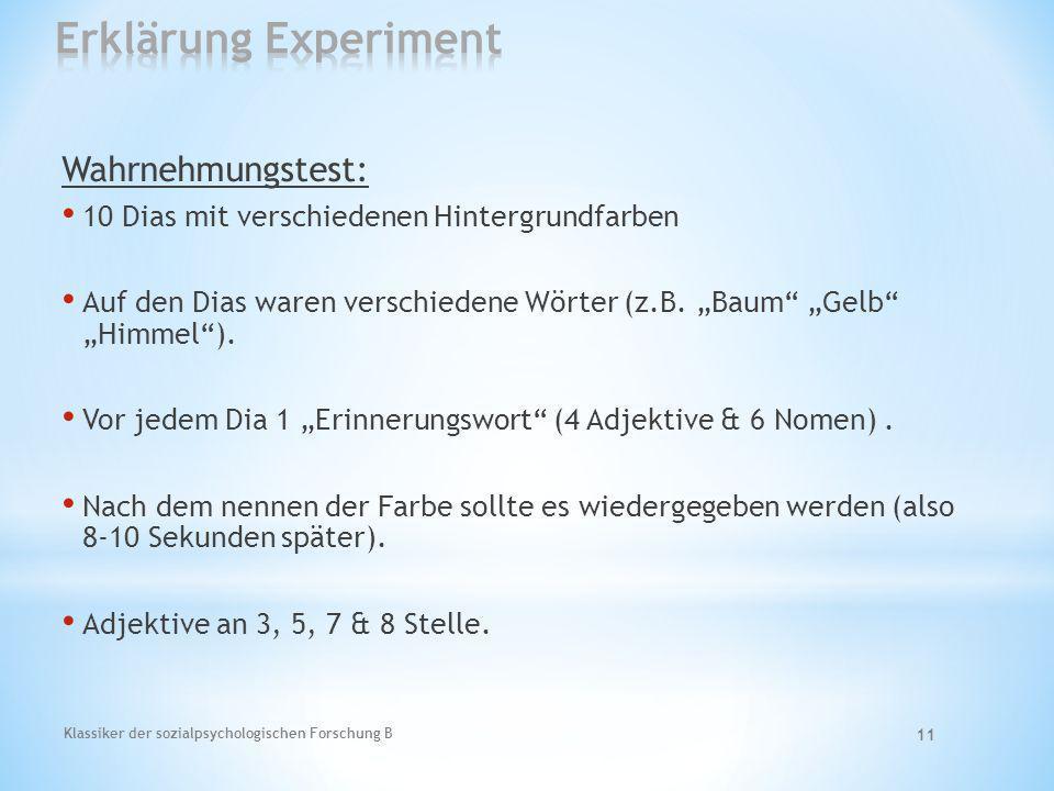 Erklärung Experiment Wahrnehmungstest: