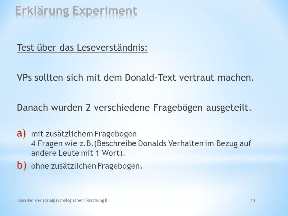 Erklärung Experiment Test über das Leseverständnis:
