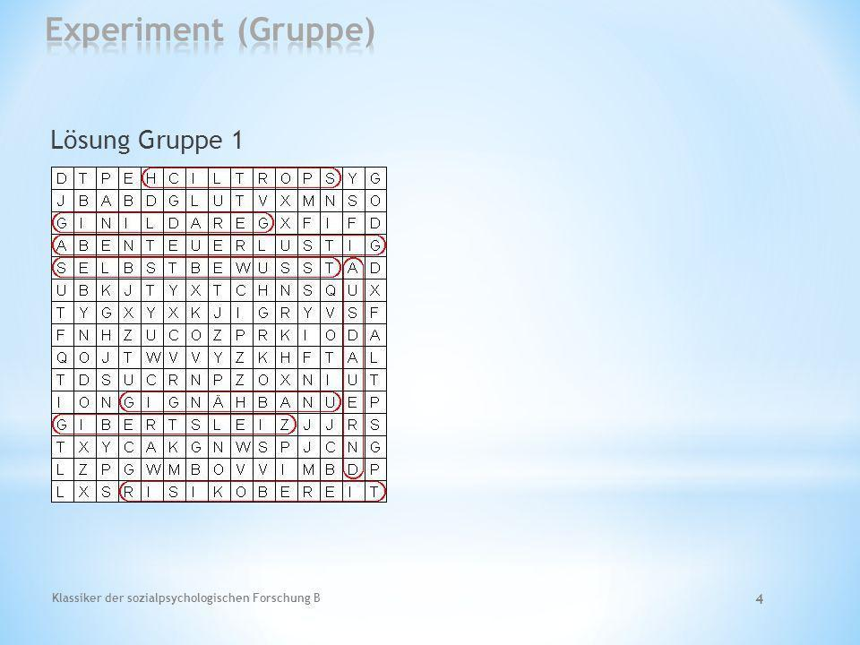 Experiment (Gruppe) Lösung Gruppe 1