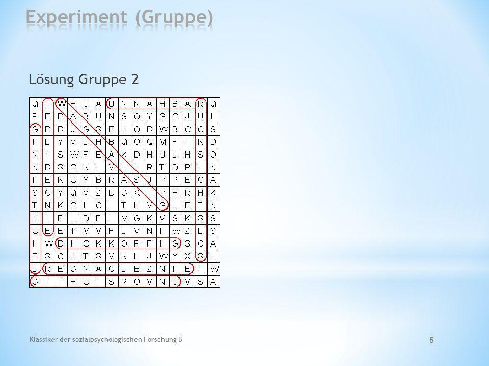 Experiment (Gruppe) Lösung Gruppe 2