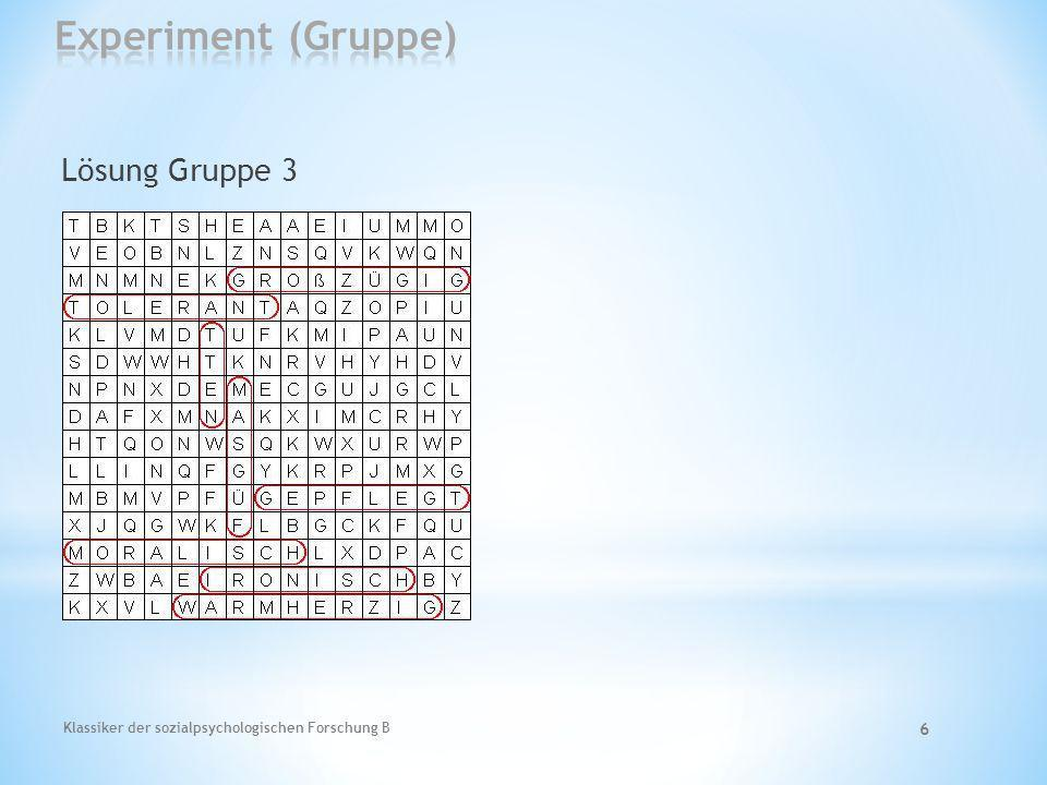 Experiment (Gruppe) Lösung Gruppe 3