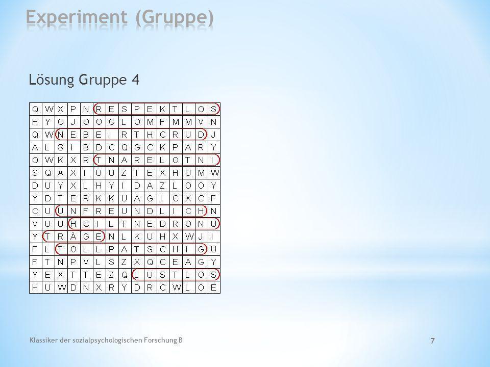 Experiment (Gruppe) Lösung Gruppe 4