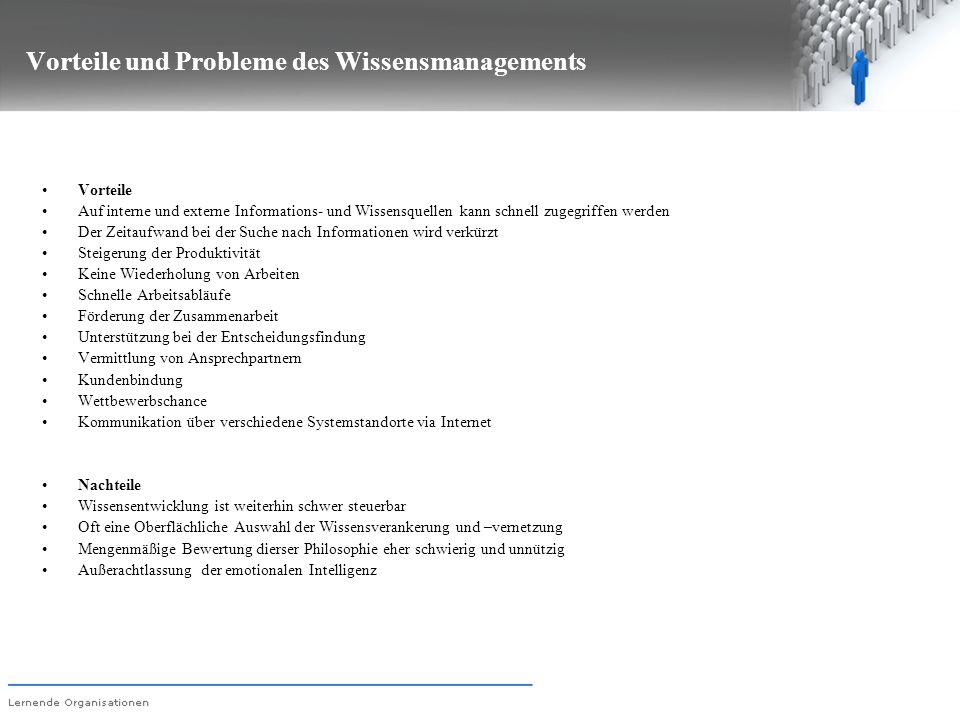 Vorteile und Probleme des Wissensmanagements