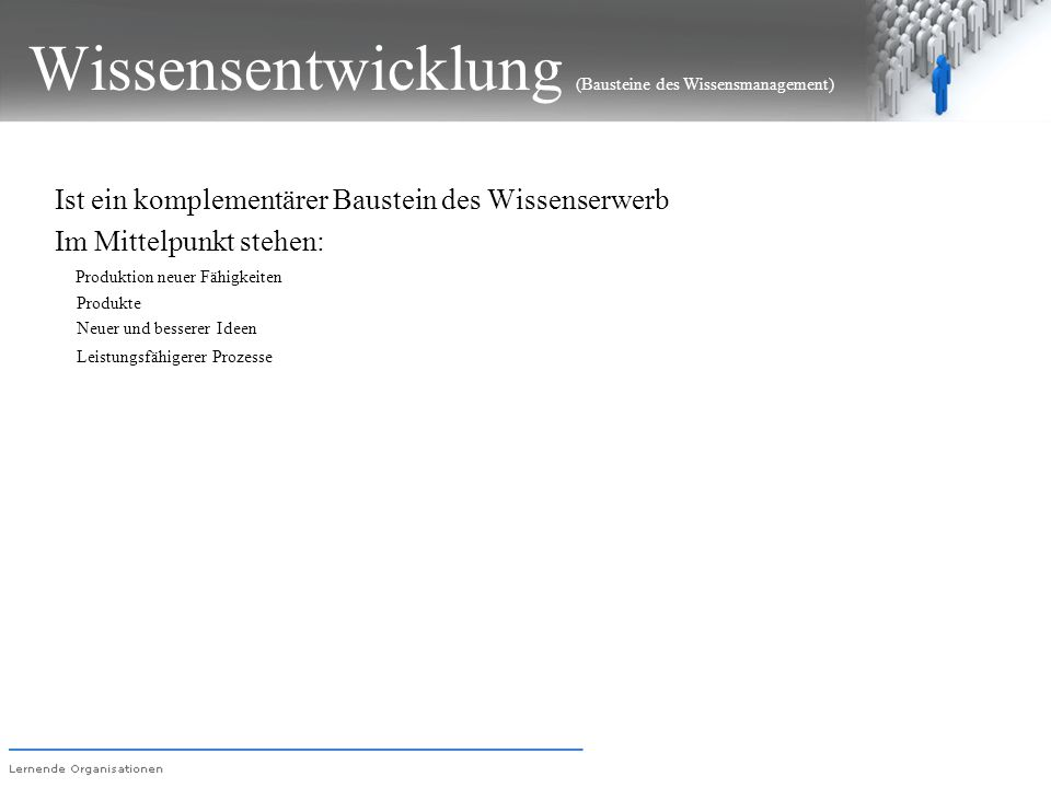 Wissensentwicklung (Bausteine des Wissensmanagement)