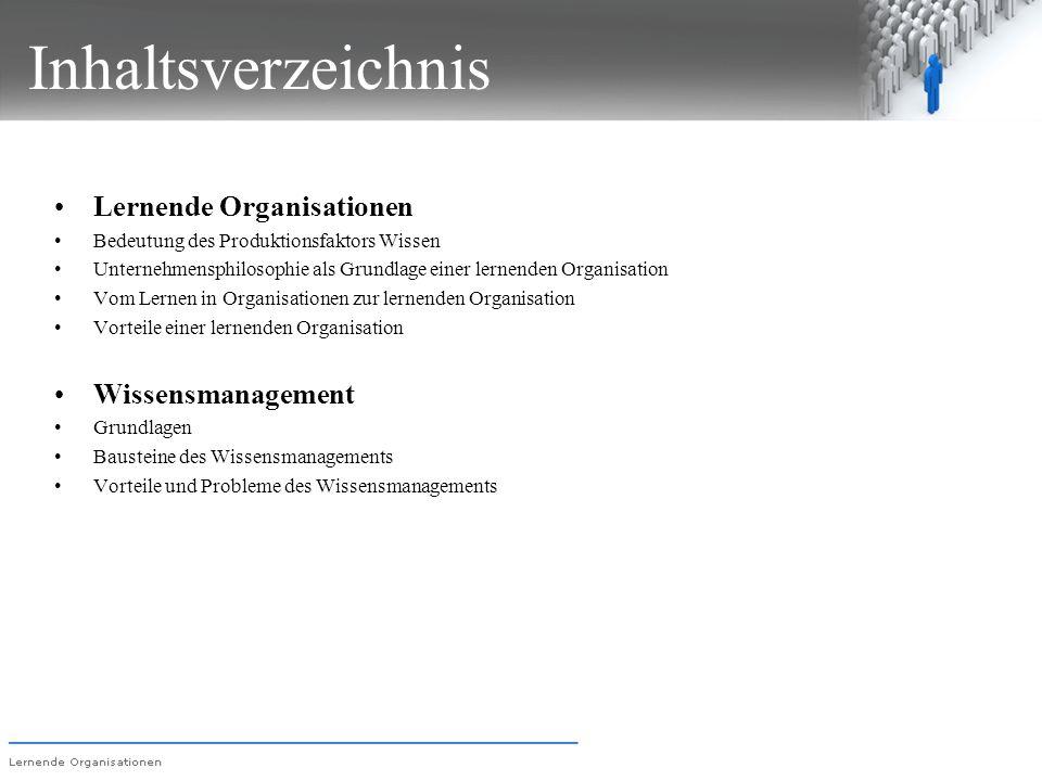 Inhaltsverzeichnis Lernende Organisationen Wissensmanagement