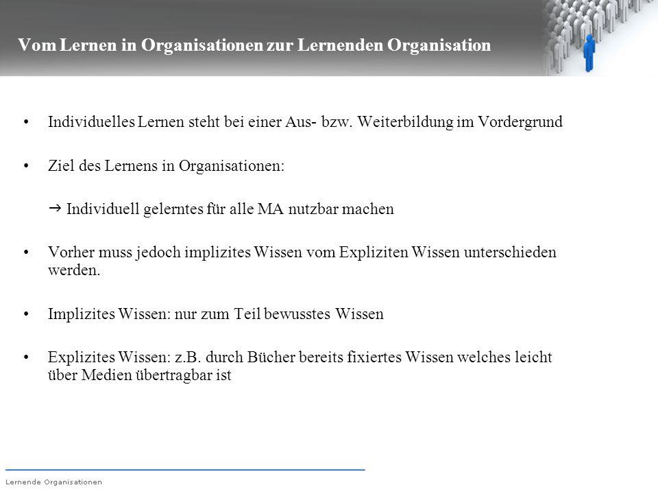Vom Lernen in Organisationen zur Lernenden Organisation