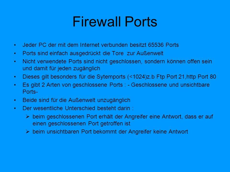 Firewall Ports Jeder PC der mit dem Internet verbunden besitzt 65536 Ports. Ports sind einfach ausgedrückt die Tore zur Außenwelt.