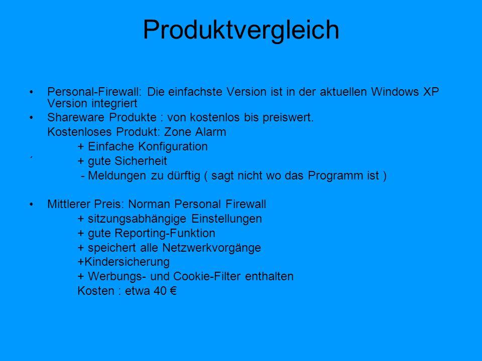 Produktvergleich Personal-Firewall: Die einfachste Version ist in der aktuellen Windows XP Version integriert.