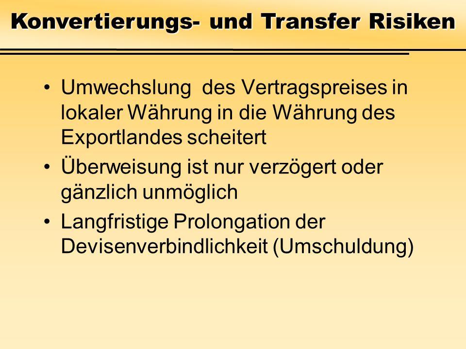 Konvertierungs- und Transfer Risiken