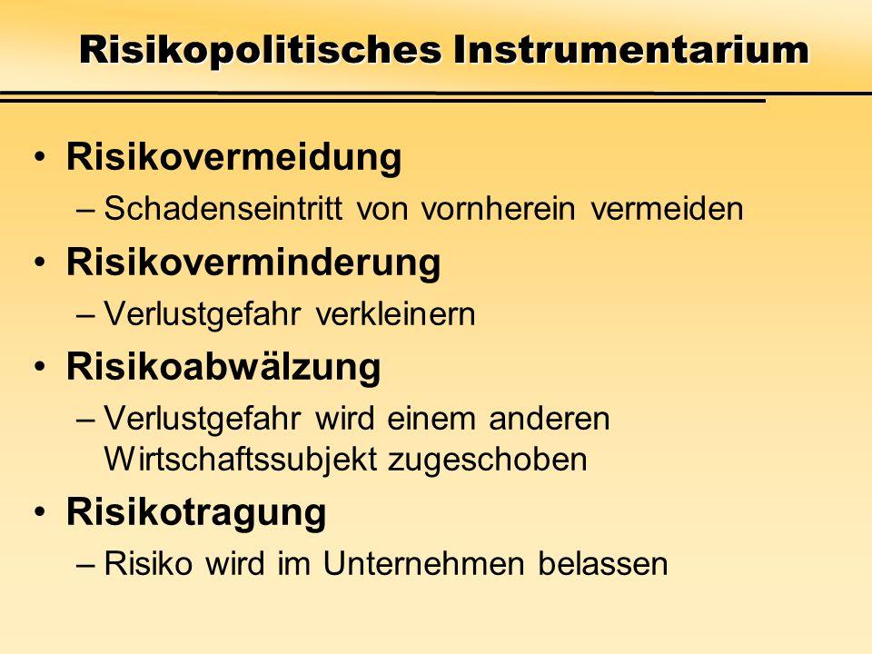 Risikopolitisches Instrumentarium