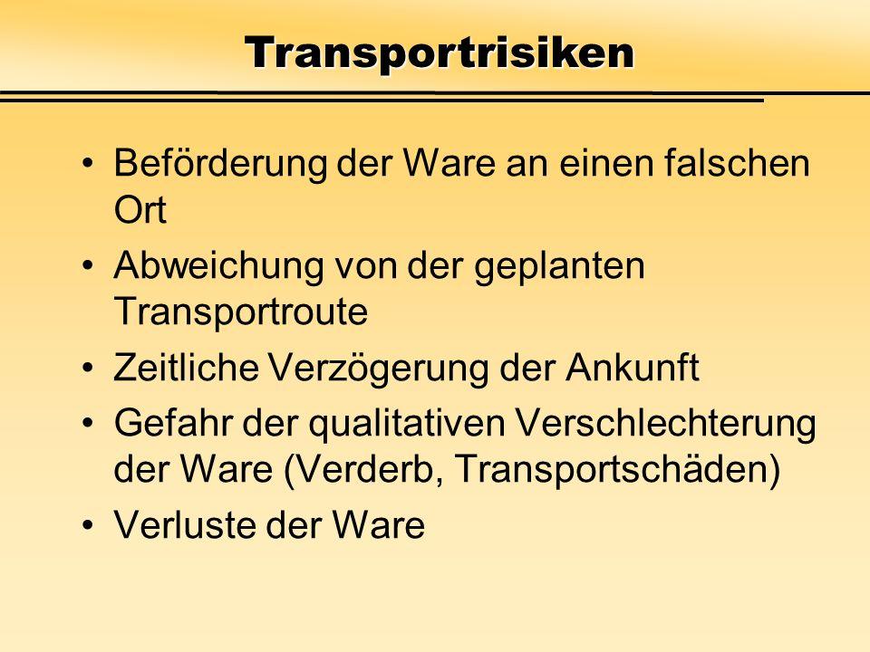 Transportrisiken Beförderung der Ware an einen falschen Ort