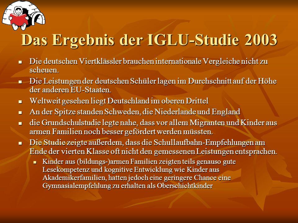 Das Ergebnis der IGLU-Studie 2003