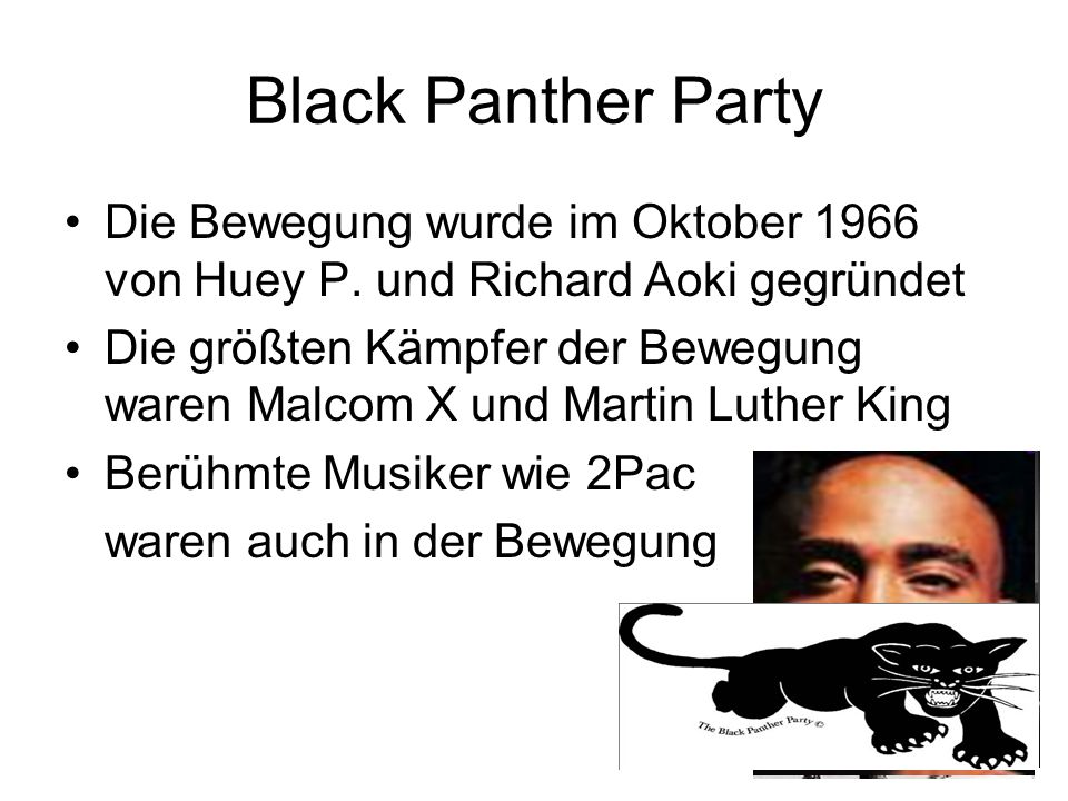 Black Panther PartyDie Bewegung wurde im Oktober 1966 von Huey P. und Richard Aoki gegründet.