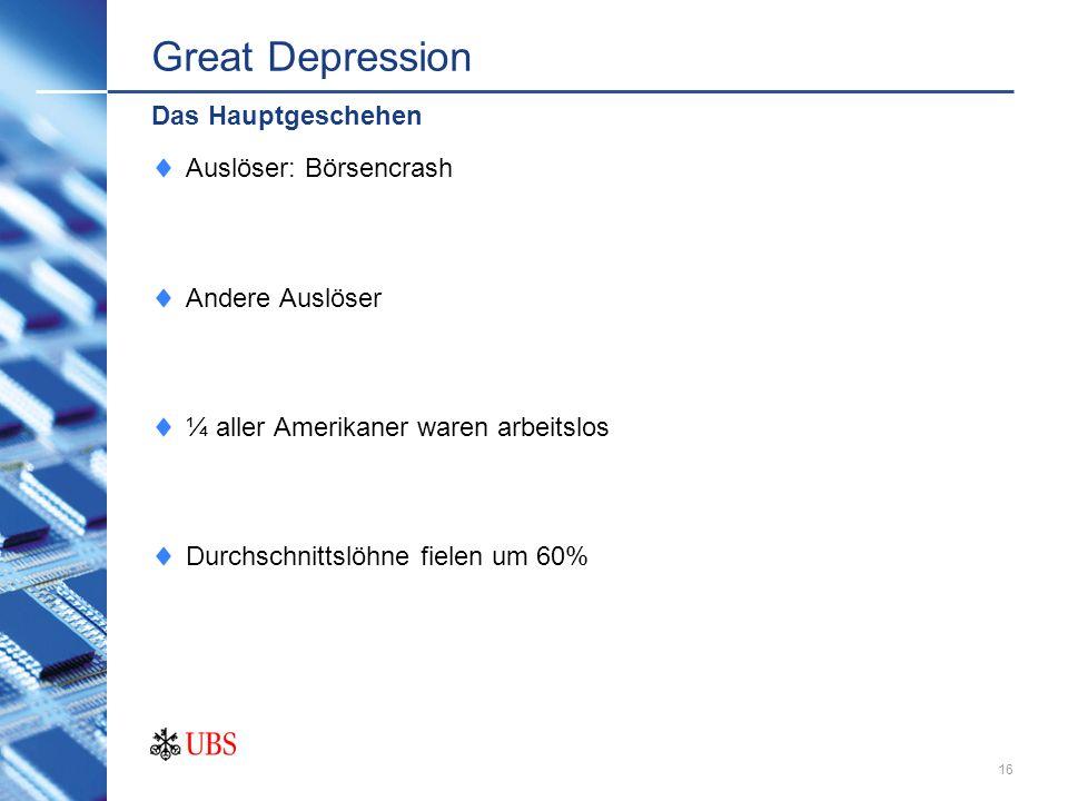 Great Depression Das Hauptgeschehen Auslöser: Börsencrash
