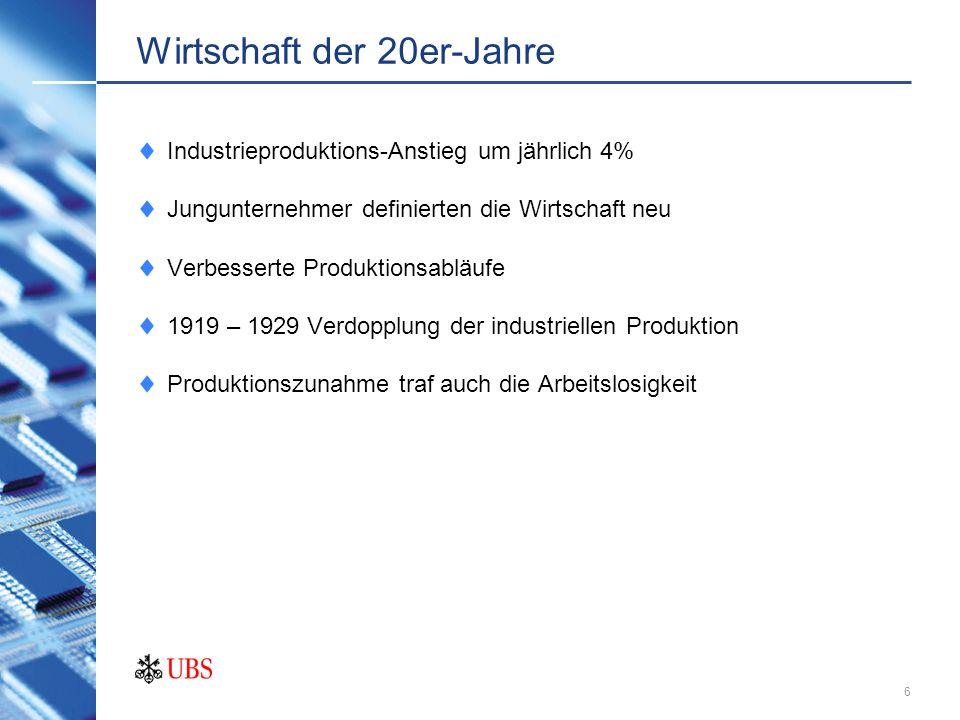 Wirtschaft der 20er-Jahre