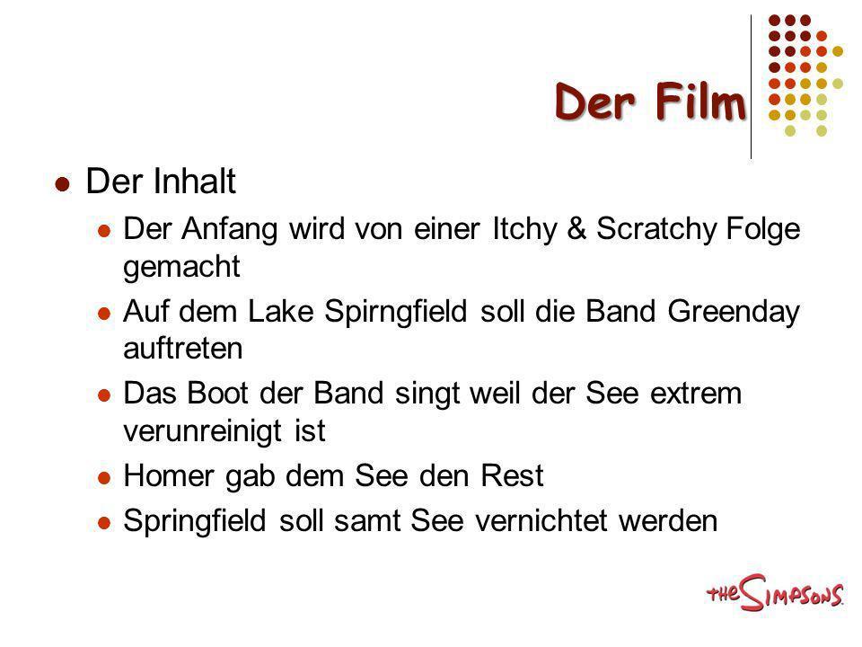 Der Film Der Inhalt. Der Anfang wird von einer Itchy & Scratchy Folge gemacht. Auf dem Lake Spirngfield soll die Band Greenday auftreten.