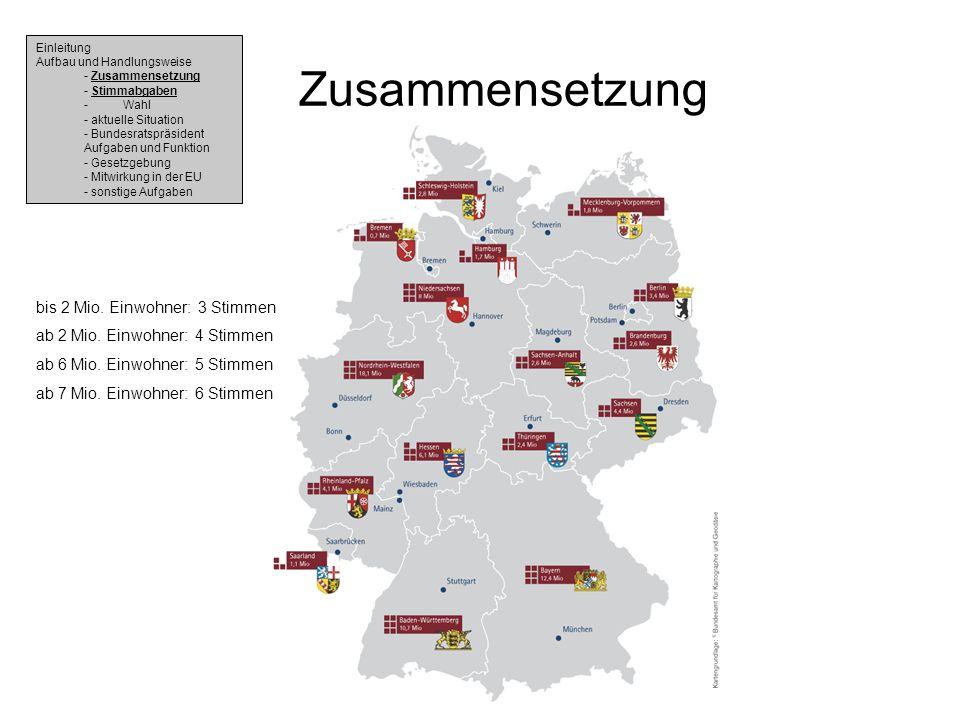 Zusammensetzung bis 2 Mio. Einwohner: 3 Stimmen