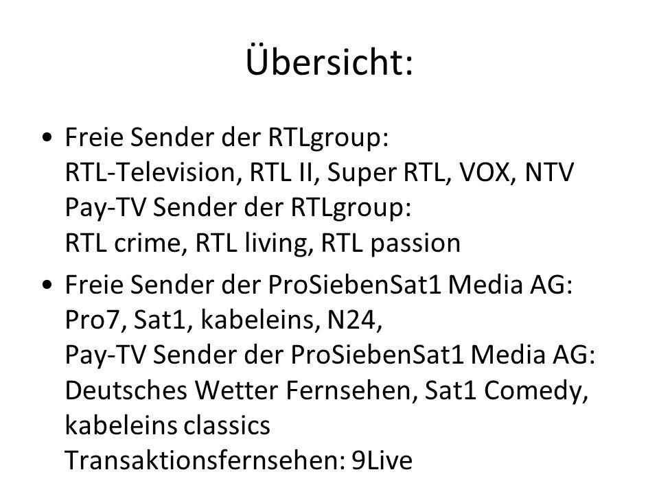 Übersicht: Freie Sender der RTLgroup: RTL-Television, RTL II, Super RTL, VOX, NTV Pay-TV Sender der RTLgroup: RTL crime, RTL living, RTL passion.