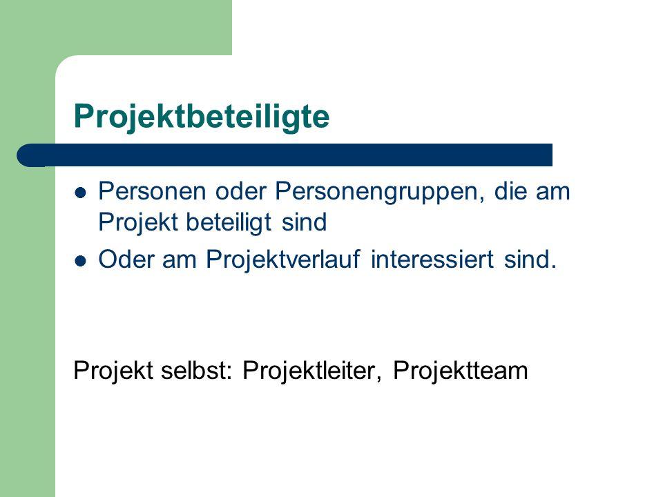 Projektbeteiligte Personen oder Personengruppen, die am Projekt beteiligt sind. Oder am Projektverlauf interessiert sind.