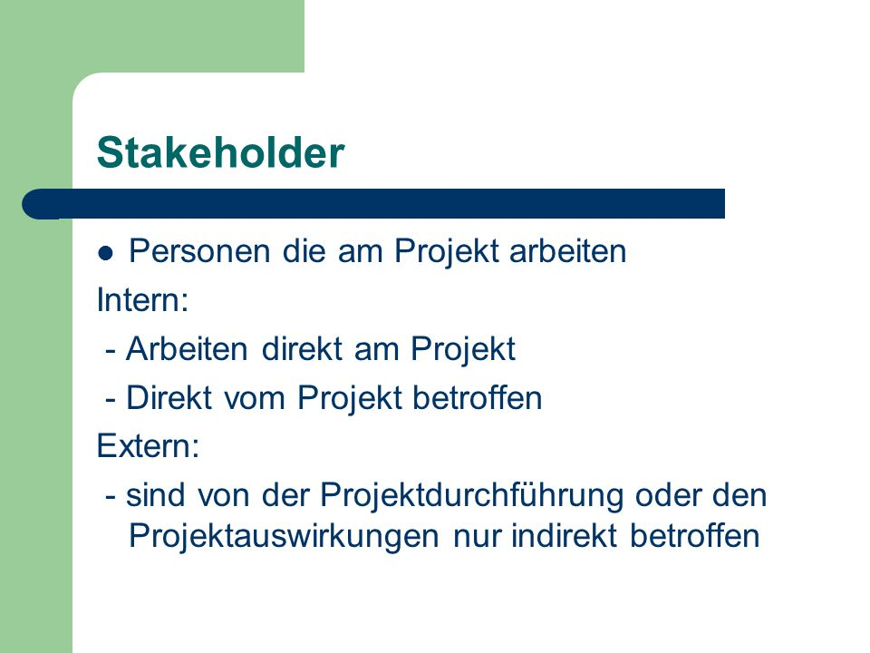 Stakeholder Personen die am Projekt arbeiten Intern: