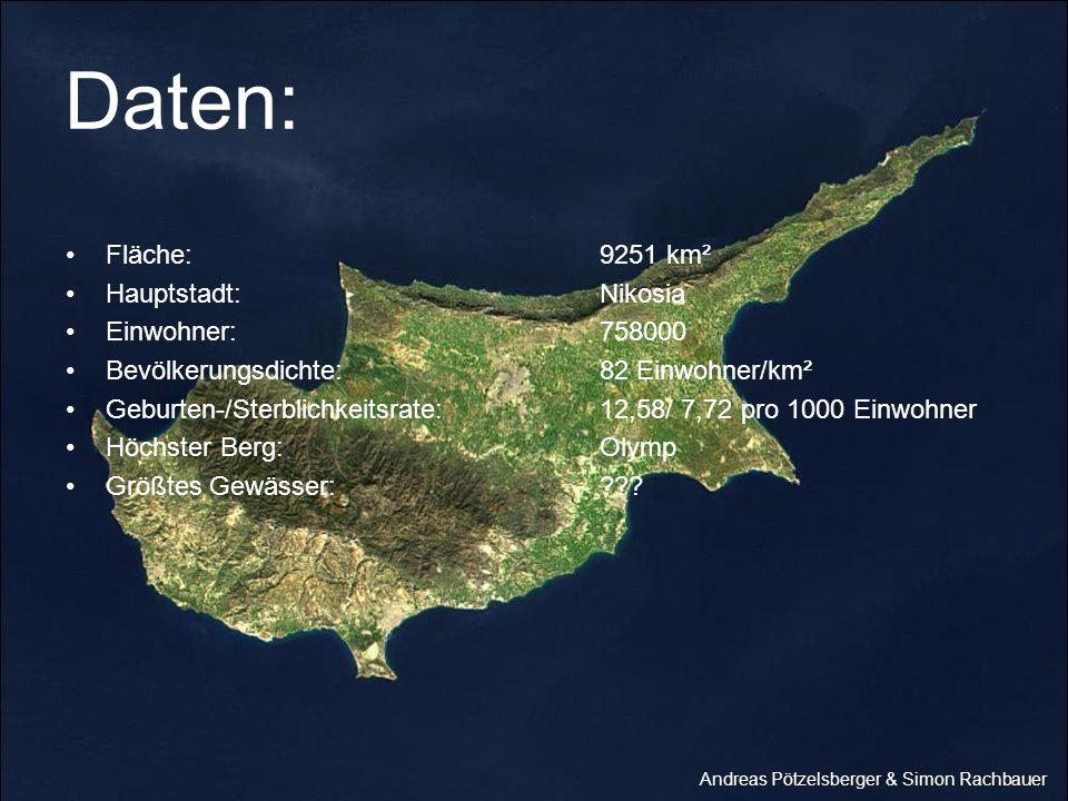 Daten: Fläche: 9251 km² Hauptstadt: Nikosia Einwohner: 758000