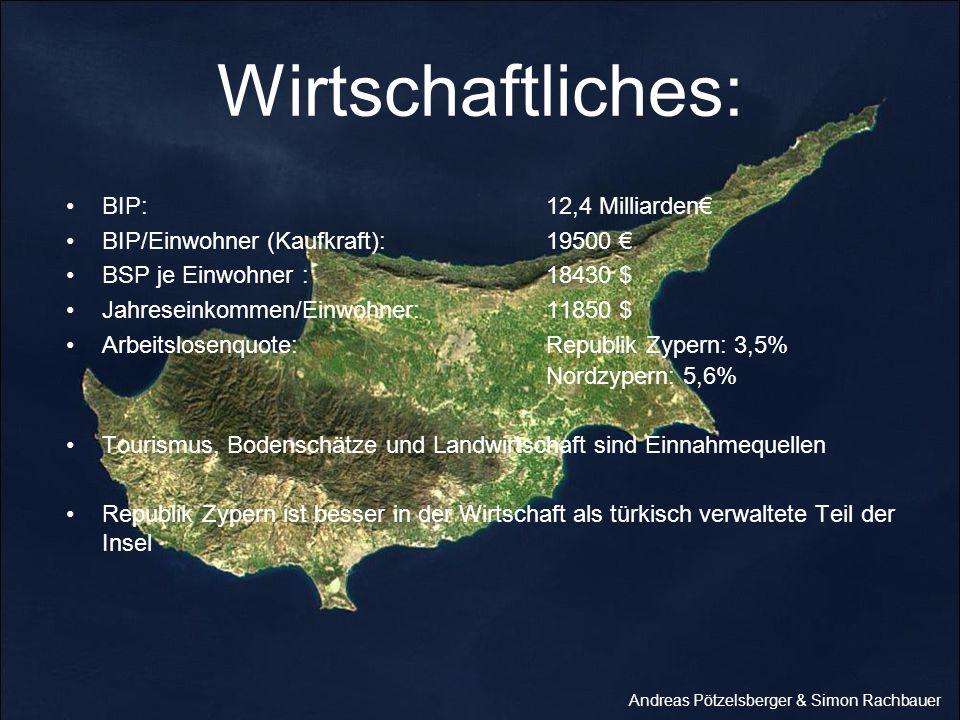 Wirtschaftliches: Nordzypern: 5,6% BIP: 12,4 Milliarden€
