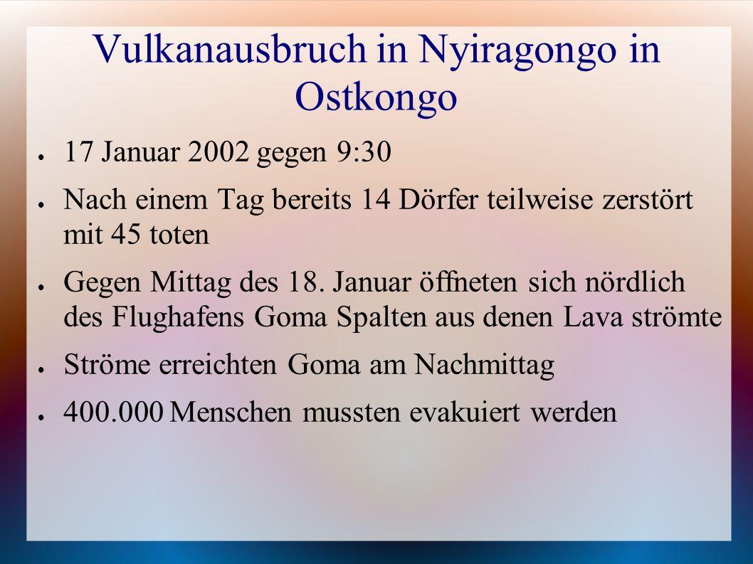Vulkanausbruch in Nyiragongo in Ostkongo
