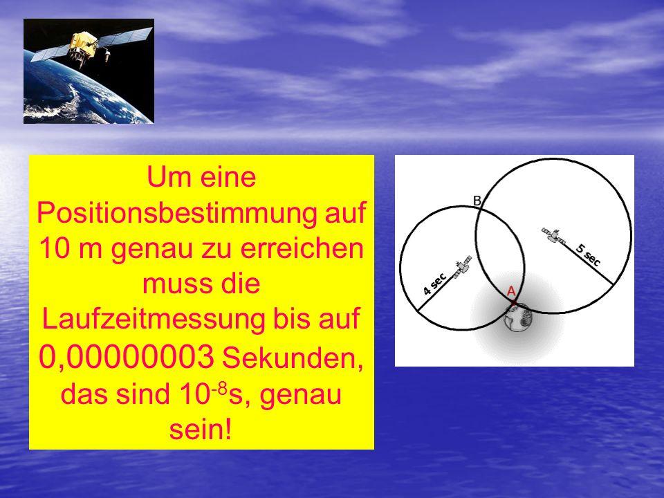Um eine Positionsbestimmung auf 10 m genau zu erreichen muss die Laufzeitmessung bis auf 0,00000003 Sekunden, das sind 10-8s, genau sein!