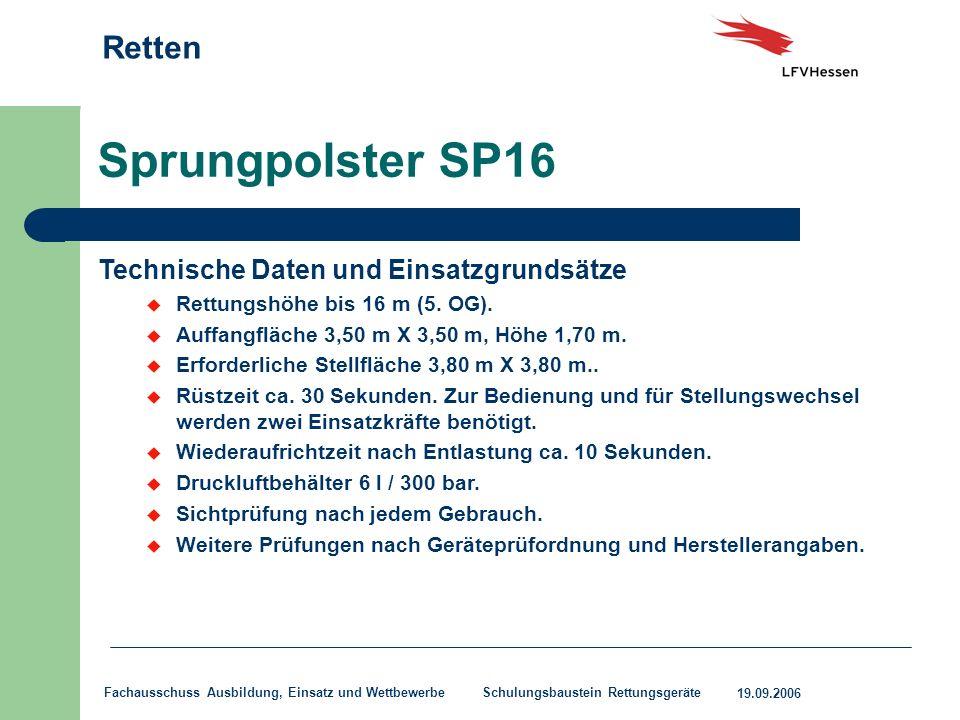 Sprungpolster SP16 Technische Daten und Einsatzgrundsätze
