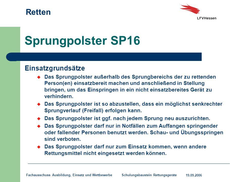 Sprungpolster SP16 Einsatzgrundsätze