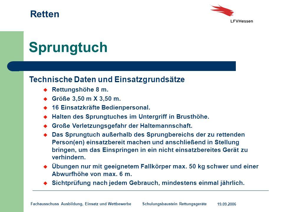Sprungtuch Technische Daten und Einsatzgrundsätze Rettungshöhe 8 m.