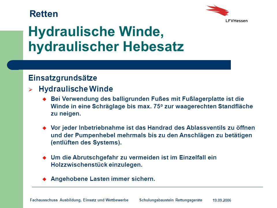 Hydraulische Winde, hydraulischer Hebesatz