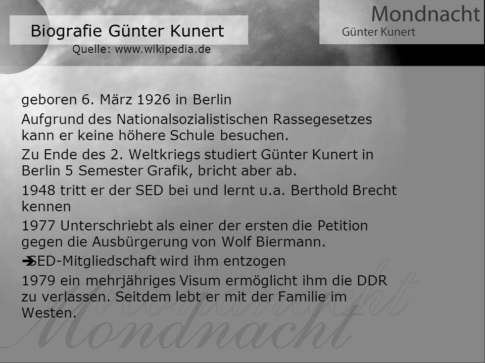 Biografie Günter Kunert