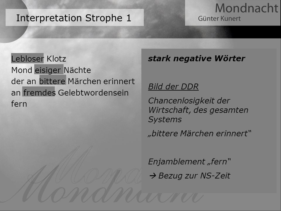 Interpretation Strophe 1