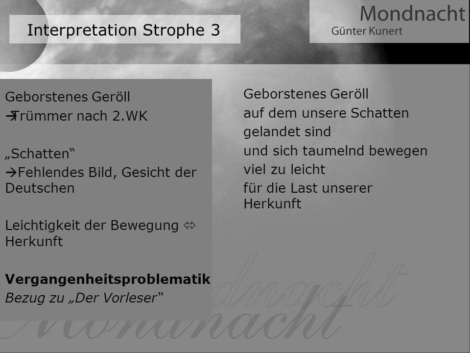 Interpretation Strophe 3