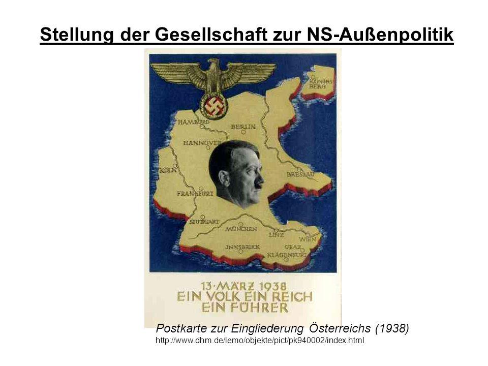 Stellung der Gesellschaft zur NS-Außenpolitik