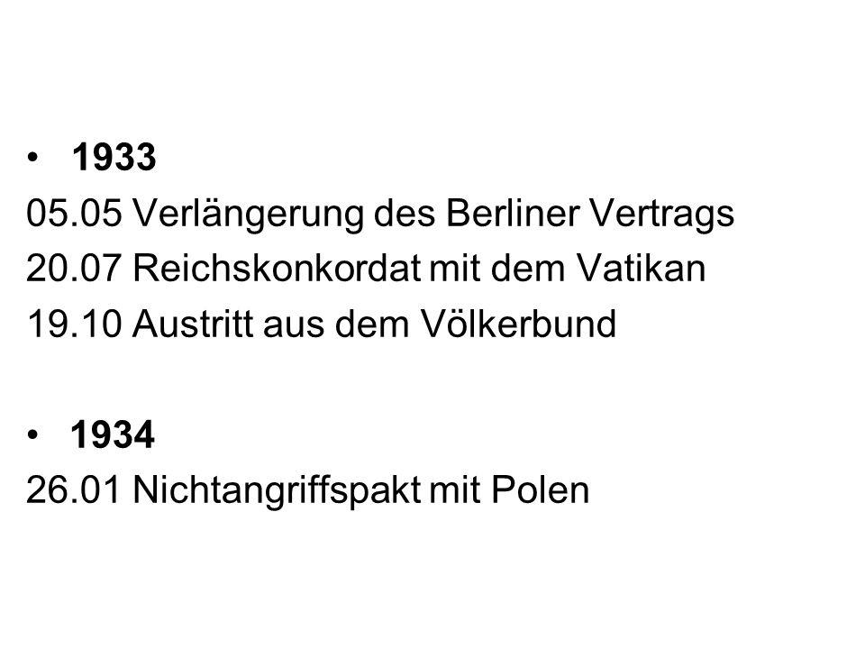 • 1933 05.05 Verlängerung des Berliner Vertrags. 20.07 Reichskonkordat mit dem Vatikan. 19.10 Austritt aus dem Völkerbund.