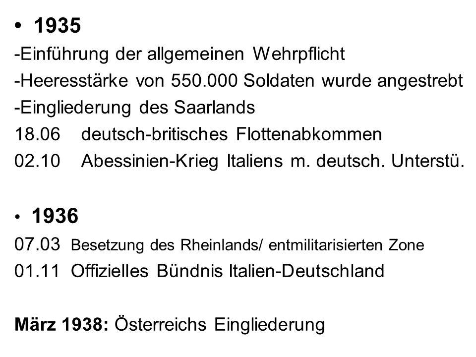 • 1935 -Einführung der allgemeinen Wehrpflicht