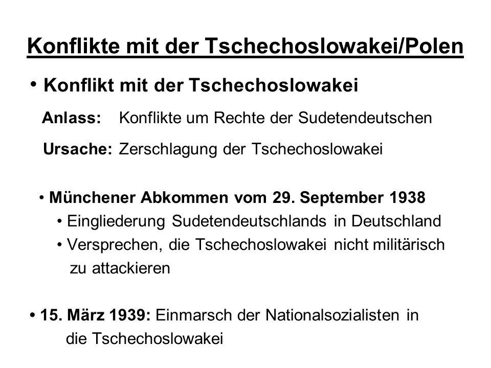 Konflikte mit der Tschechoslowakei/Polen