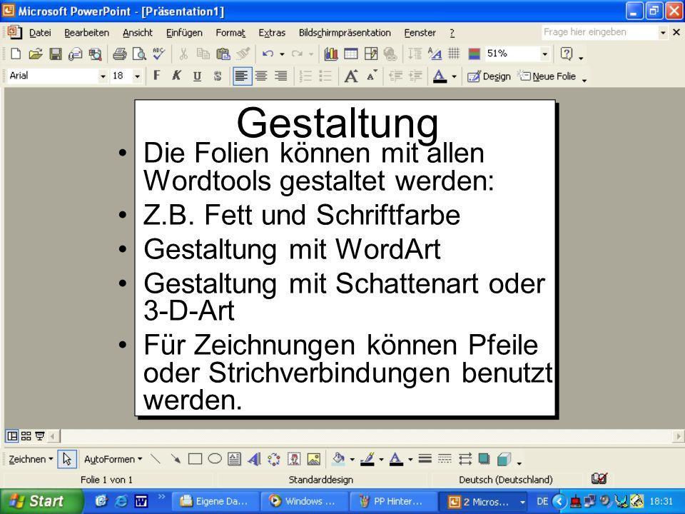 Gestaltung Die Folien können mit allen Wordtools gestaltet werden: