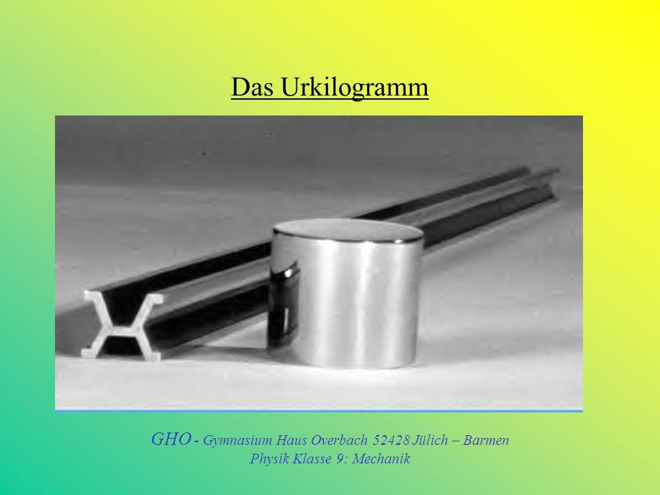 Das Urkilogramm GHO - Gymnasium Haus Overbach 52428 Jülich – Barmen
