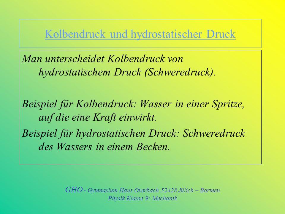 Kolbendruck und hydrostatischer Druck