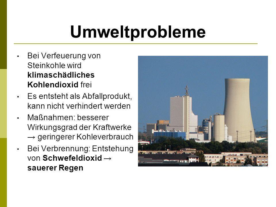 Umweltprobleme Bei Verfeuerung von Steinkohle wird klimaschädliches Kohlendioxid frei. Es entsteht als Abfallprodukt, kann nicht verhindert werden.