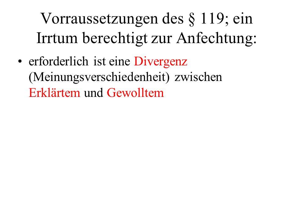 Vorraussetzungen des § 119; ein Irrtum berechtigt zur Anfechtung: