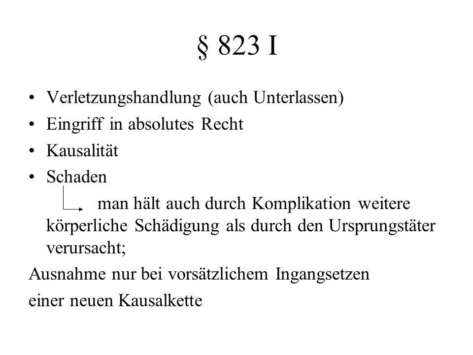 § 823 I Verletzungshandlung (auch Unterlassen)