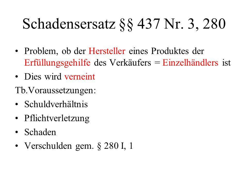 Schadensersatz §§ 437 Nr. 3, 280 Problem, ob der Hersteller eines Produktes der Erfüllungsgehilfe des Verkäufers = Einzelhändlers ist.